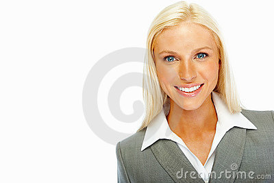Attractive business woman smiling over white