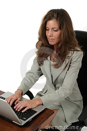 Attractive Business Woman Working On Laptop 1