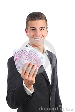Attractive businessman showing money