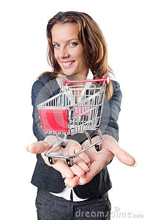 Attractive businesswoman with  cart