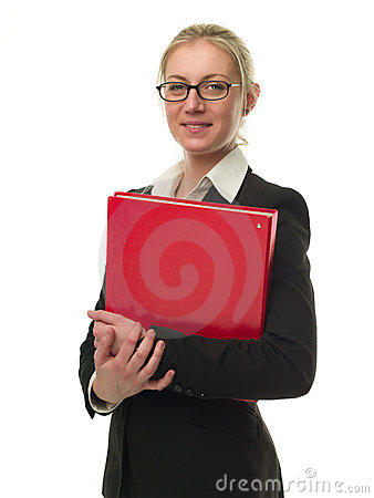 Attractive businesswoman holding a red folder