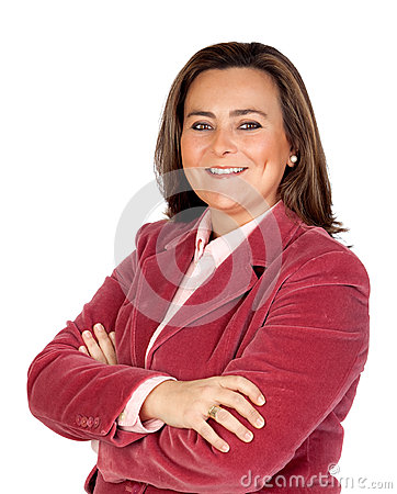 Attractive businesswoman with pink jacket