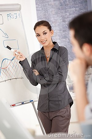 Attractive businesswoman presenting in office