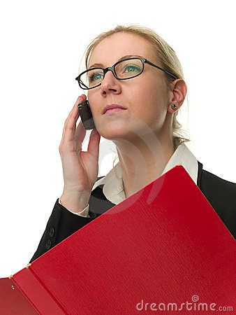 Attractive businesswoman with a red folder