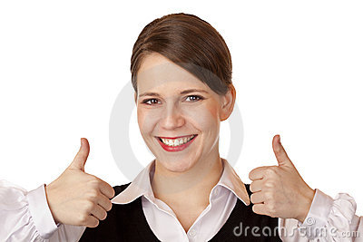 Attractive businesswoman shows both thumbs up