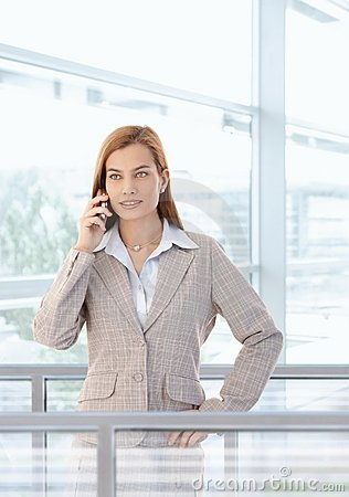 Attractive businesswoman talking on mobile smiling