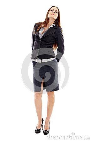 Attractive businesswoman on white background