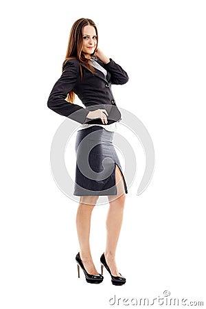 Attractive businesswoman on white background