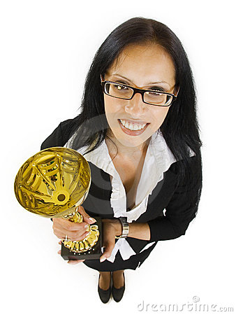 Attractive businesswoman winning a cold cup
