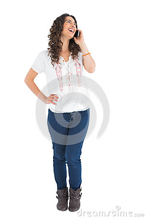 Free Attractive Casual Brunette On The Phone Royalty Free Stock Photos - 33214518