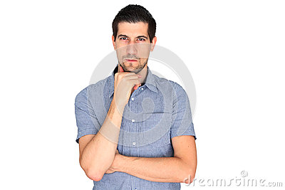 Attractive casual young man concentrating