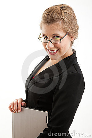 Attractive caucasian blond businesswoman