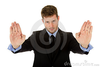 Attractive caucasian businessman, palms