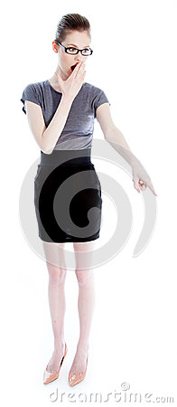 Attractive caucasian girl in her 30 shot in studio