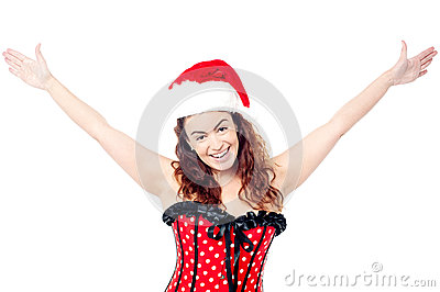Attractive cheerful woman having fun
