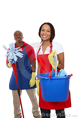 Free Attractive Cleaning Man And Woman Royalty Free Stock Images - 8610939
