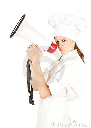 Attractive cook woman with megaphone