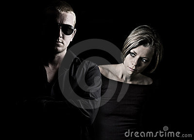 Attractive Couple on Black Background