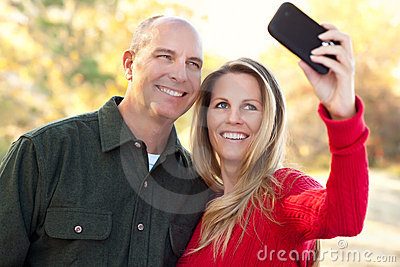 Attractive Couple Pose for a Self Portrait