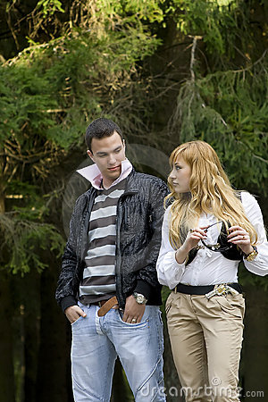 Attractive couple walking outdoors