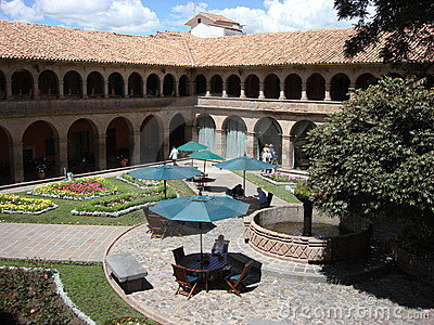Attractive courtyard at an upscale hotel in Peru