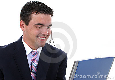 Attractive Customer Service Representative with Headset and Comp