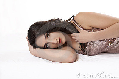 Attractive East Indian Teen Woman Reclining