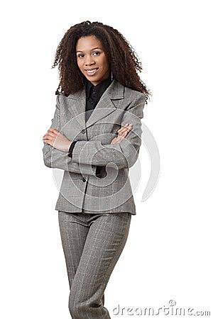 Attractive ethnic businesswoman smiling