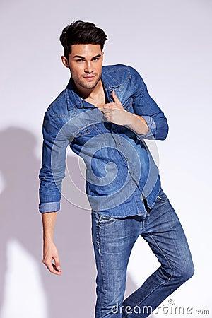 Attractive fashion man posing