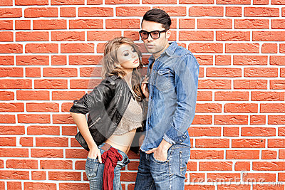 Attractive fashionable couple dressed casual