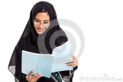Arabian student reading