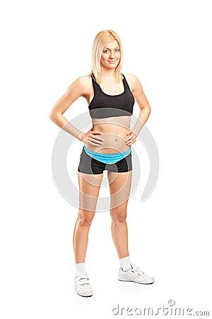 Attractive female athlete posing