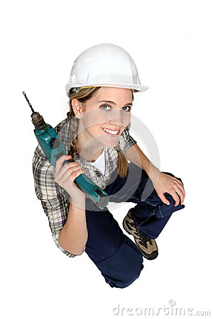 Attractive female construction worker
