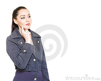 Attractive Female Detective With Clue Copyspace