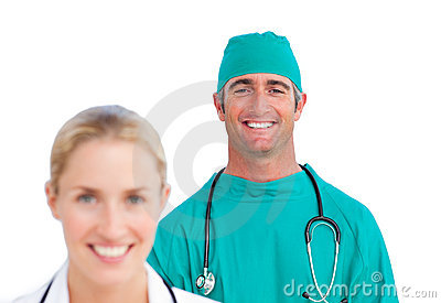 Attractive female doctor and a mature surgeon