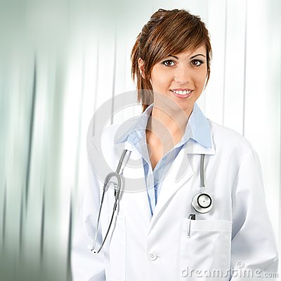 Attractive  female doctor with stethoscope.