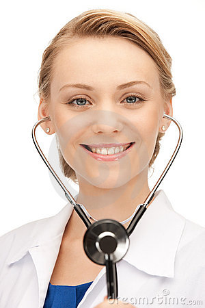 Free Attractive Female Doctor With Stethoscope Royalty Free Stock Images - 20539429