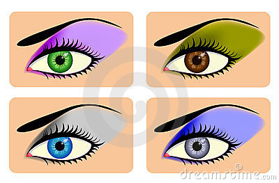 Attractive female eyes with vibrant eye shadow