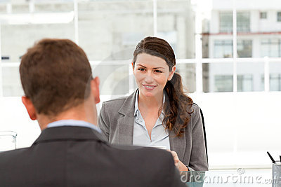 Attractive female manager during a interview