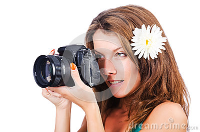 Attractive female photographer