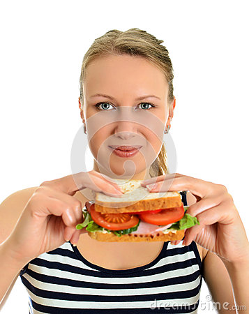 Attractive female with sandwich