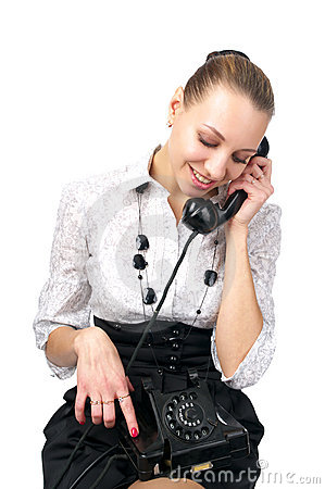 Attractive female talking phone