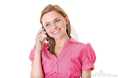 Attractive female talks over mobile phone,isolated