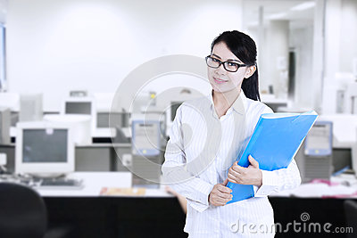 Attractive female worker at office