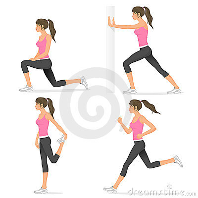 Attractive fit girl stretching before jogging
