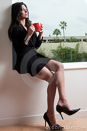 Attractive forties brunette woman