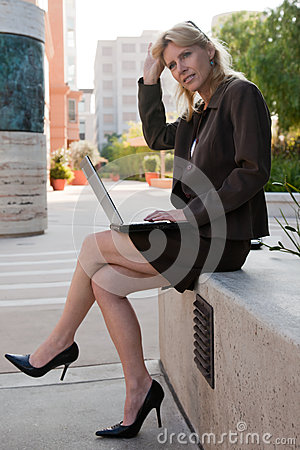 Attractive forties caucasian businesswoman