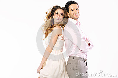 Attractive fresh woman looking at her boyfriend