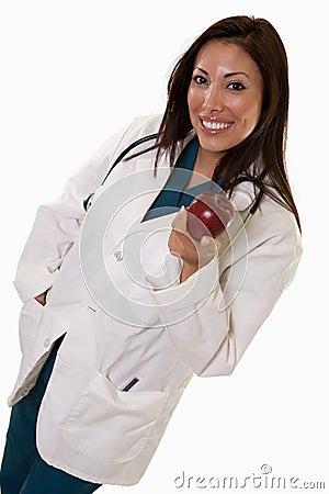 Attractive friendly thirties hispanic woman doctor
