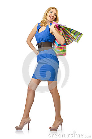 Attractive girl with  bags